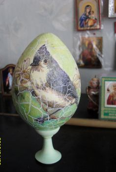 Wooden Easter Egg On The Stand Easter Egg Easter Decorations Easter Decor Egg Vintage Style