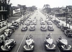 1935 Studebakers - South Bend, Indiana    This view was shot from the railroad viaduct looking down S. Michigan St. during the unveiling of the 1935 Studebakers.