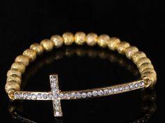 Charm Stretch bead bracelet with Rhinestone Cross