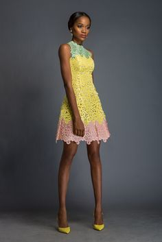 LOUISA Pistachio, daffodil and cherry blossom pink Aso-oke dress patterned with Komole Kandids Bubble motif.
