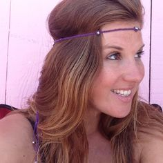 Multi-Wear Headband Made w purple hemp and woven with 10 crystals. It's sizable with a wooden sliding bead. Custom colors available upon request. Fun to wear. Great for travel jewelry because it can be worn many ways Melayni Accessories Hair Accessories