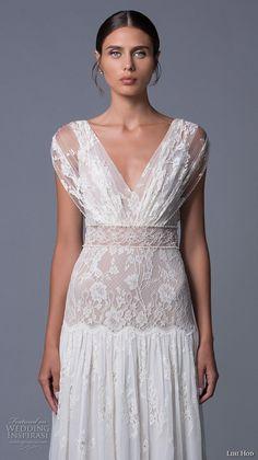 lihi hod 2017 bridal cap sleeves v back full embellishment lace vintage bohemian modified a  line wedding dress v low back sweep train (alona) zv
