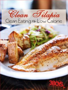 "Clean Tilapia - May be ""clean"" and healthy, but this has ZERO flavor. There are definitely other, tastier, healthy ways to eat tilapia. Seafood Dishes, Seafood Recipes, Paleo Recipes, Cooking Recipes, Healthy Snacks, Healthy Eating, Calories, Clean Eating Recipes, Natural"