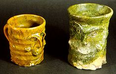 Brill/Boarstall ware drinking vessels, Buckinghamshire. Ashmolean Museum, Oxford. Height left, 100mm right 125mm. Reference: PW15. 14th - 15th century AD