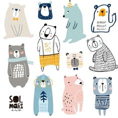 Continue my own challenge in drawing different styles characters. Today it's bears?,what is you're fave? Continue my own challenge in drawing different styles characters. Today it's bears?,what is you're fave? Animal Drawings, Cute Drawings, Baby Poster, Baby Illustration, Illustration Styles, Art For Kids, Big Kids, Doodles, Prints