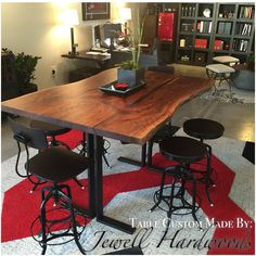 Solid slab log dining table with artistic base log dining table with - 10 Ft Black Walnut Book Matched Dining Table With Xavier