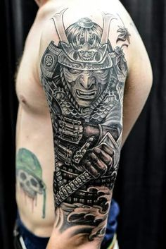 Chronic Ink Tattoo - Toronto Tattoo Samurai warrior half sleeve tattoo by Winson. Half Sleeve Tattoos Dog, Quarter Sleeve Tattoos, Japanese Sleeve Tattoos, Sleeve Tattoos For Women, Mens Sleeve Tattoo Designs, Tattoo Designs Men, Geometric Tattoo Ram, Geometric Sleeve, Temple Tattoo
