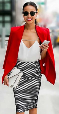 awesome outfit idea : red blazer + blouse + bag + printed skirt