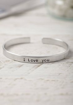 Hand Stamped Love Phrase Bracelet from notonthehighstreet.com