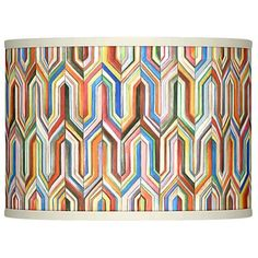 Infuse a contemporary room with the exploding colors of this beautiful drum-shaped Synthesis giclee lamp shade. 13 across the top x 13 across the bottom x high. Chrome finish spider fitting, harp, and round ball finial. Style # at Lamps Plus. Glow Lamp, Custom Lamp Shades, Types Of Art, Pattern Art, Rainbow Colors, Original Artwork, Spider, Contemporary, Modern