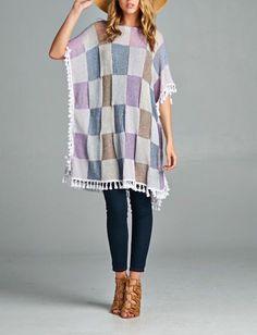 NEW Simple Purple Hippy Plain Caftan Kaftan Tunic Fringed Top Plus Size XL 1XL #ClothingBucket #SpringPoncho #Casual