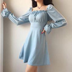 vintage u neck back lace-up slim dress – Jenny Ray Korean Fashion Dress, Kpop Fashion Outfits, Girly Outfits, Cute Casual Outfits, Pretty Outfits, Pretty Dresses, Beautiful Dresses, Fashion Dresses, Korean Dress
