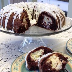 chocolate bundt with coconut cream cheese filling
