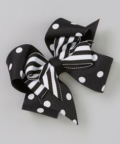 Take a look at the Black Polka Dot Layered Bow Clip on #zulily today!