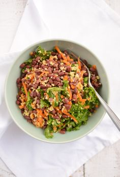 Adzuki beans with millet and kale.  Looks like something my sister-in-law would torture my nieces with.