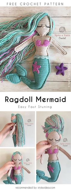 Ragdoll Mermaid Free Crochet Pattern #freecrochetPatternsamigurumi #amigurumiowl #freepatterns #amigurumimermaid #amigurumidoll