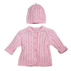 Elegant Baby Cable Knit Cardigan Sweater and Hat Set 612M Pink * To view further for this item, visit the image link.
