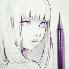 Anime Girl Sketch Art Inspo, Sketch Art, Girl Sketch, Anime Sketch, Drawing Sketches, Beautiful Drawings, Amazing Drawings, Cool Drawings, Art Manga
