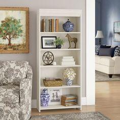 Darby Home Co Carroll Standard Bookcase Color: Antique White bookshelf decor Three Posts Resaca Standard Bookcase Styling Bookshelves, Bookshelves In Living Room, Decorating Bookshelves, Bookcase Storage, Decorate Bookcase, Bookcases, Shelving, Diy Interior, Room Interior