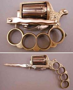 This looks Steampunk but it's not. The Apache, a real weapon produced between 1870 and 1900, are so small they were likely used by small handed women.
