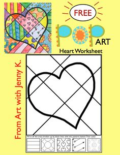 "Valentine's Day Activity: Valentine's Day Coloring Sheets + Writing Prompts Valentine's Day ""Pop Art"" Draw and Color Worksheet/Printable ***FREE***Valentine's Day ""Pop Art"" Draw and Color Worksheet/Printable ***FREE*** Valentines Day Coloring, Valentines Art, Valentines Day Activities, Art 2nd Grade, Classe D'art, Pop Art Drawing, Art Worksheets, School Art Projects, Kindergarten Art"