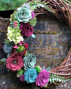 I have had this wreath in my imagination for awhile now, and finally had a chance to create it today! (Thank you, Theo for rocking the naps today). And, it was JUST LISTED in the shop! Happy Friday!! . . . . #wreath #succulents #doordecor #prettylittlething #handmadeflowers #homedecor #etsyseller