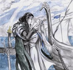 The farewell of Lord Elrond and Lady Celebrian