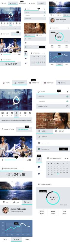 Flat Blue - UI Kit by Fabrizio Bianchi, via Behance