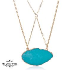 Wear our 'Larimar Stone Necklace' & beat the #mondayblues with the blues 💙! Shop now: www.theglocaltrunk.com #theglocaltrunk #tgt #necklace #pendants #naturalstone #turquoise #costumejewellery #fashionaccessories #onlinestore
