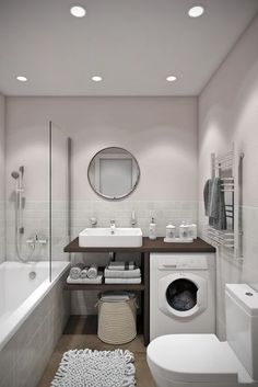 Looking for ideas to transform your small bathroom? Maximize your bathroom with these tips and ideas for your small bathroom spaces. Bathrooms are usually small spaces that are called upon to do many things. Bathroom With Tub Diy Bathroom, Laundry In Bathroom, Bathroom Design Small, Bathroom Layout, Bathroom Interior Design, Bathroom Designs, Small Bathrooms, Simple Bathroom, Bathroom Cabinets