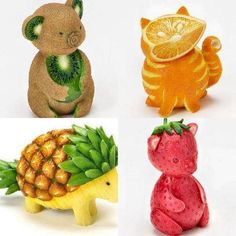 Is it a fruit or is it an animal? Well, they are animals carved out of fruits! Learn about animals the fun way with Vyaap's KidsZoo Animal Sounds and Photos App. Fruit Decorations, Food Decoration, Fruit Creations, Creative Food Art, Fruit And Vegetable Carving, Food Carving, Food Garnishes, Garnishing, Edible Arrangements