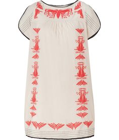 HOSS INTROPIA  Nude and Coral Art Deco Embroidered Dress
