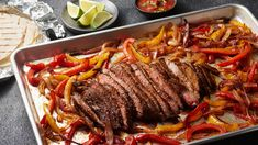 (Use grapeseed oil; serve over quinoa or wild rice instead of tortillas) These beef fajitas are easy and delicious. Seasoned flank steak is oven-broiled on a sheet pan with a mixture of peppers and onions, all seasoned to perfection and ready to eat in 30 minutes!