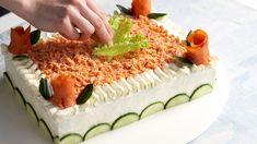 Lohi-voileipäkakku Bridal Shower Snacks, Avocado Toast, Vanilla Cake, Breakfast, Desserts, Savoury Cake, Savory Snacks, Morning Coffee, Tailgate Desserts