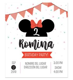 Invitación Cumpleaños Minnie Bow - Diseños personalizados Mickey Mouse Gifts, Fiesta Mickey Mouse, Red Minnie Mouse, Minnie Mouse Baby Shower, Minnie Bow, Mickey Party, Minnie Mouse Birthday Invitations, Minnie Birthday, Baby Birthday