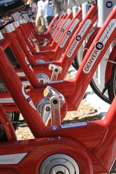 Denver has B cycle stations all over the city - you can borrow a bike and drop it off anywhere. So cool.
