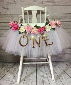 High Chair Tutu - High Chair Skirt - White and Light Pink Highchair tutu - Highchair skirt - High Chair Skirt-1st Birthday- High Chair Tutu by AvaryMaeInspirations on Etsy