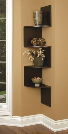 Building some DIY corner shelves might be a great idea for your next weekend project. Corner shelves are a smart solution for your small space. If you want to have shelves but you don't want to be too much on . Corner Wall Decor, Diy Corner Shelf, Corner Wall Shelves, Wall Shelf Decor, Wall Shelves Design, Diy Wall Shelves, Wall Mounted Shelves, Hanging Shelves, Glass Shelves