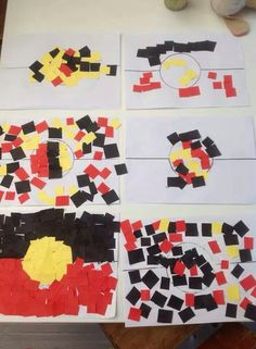 Love the variations here! Definitely one to join the kids in ❤️ Aboriginal Art For Kids, Aboriginal Flag, Aboriginal Education, Indigenous Education, Aboriginal Culture, Aboriginal People, Multicultural Activities, Childcare Activities, Infant Activities