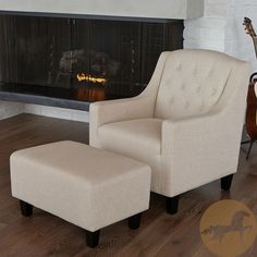 Christopher Knight Home Elaine Tufted Fabric Club Chair and Ottoman $326