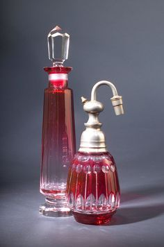 Two Victorian decorative perfume bottles, circa 1900