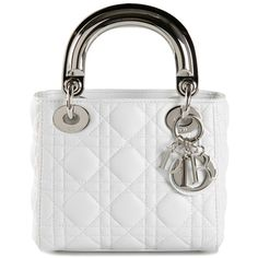 White leather Christian Dior 'Lady Dior' tote from Le Bon Marche x The Webster featuring a quilted effect, round top handles, silver-tone hardware, an open top…