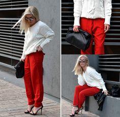 Sheinside Cable Sweater, Romwe Red Pants, Zara Strappy Sandals, Zara Luncg Bag, Romwe Round Mirrored Sunglasses, Choies Studded Biker Jacket