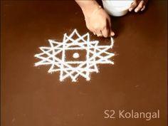 star kolam design for friday - easy star rangoli designs - star muggulu without dots - YouTube