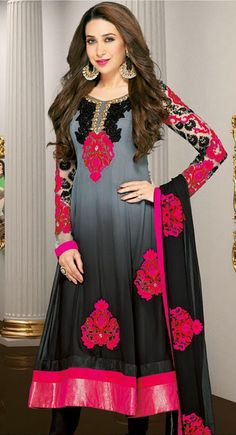Divine Black, Deep Pink & Gray Salwar Kameez