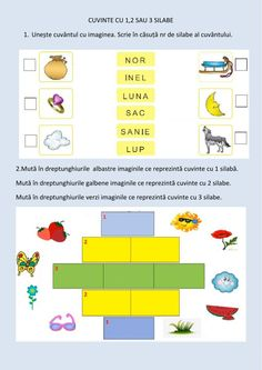Cuvinte cu 1,2,3 silabe worksheet School Subjects, Your Teacher, Web Browser, Google Classroom, Colorful Backgrounds, Worksheets, Crafts For Kids, Student, Letters