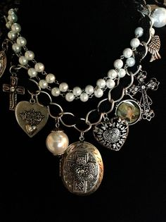 Vintage Victorian Locket Pearls Cross Heart Charms Layered Antiqued Necklace | eBay