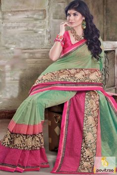 Green pink silk net chanderi designer saree online shopping in very lowest price. This embroidery sarere looks very fascinating. Buy this designer saree now and get extra discount. #sari, #festivalwearsaree, #silksareesonline, #partywear, #designersarees, #sareesonline, #sareeonline, #Indiansaree,   #newsarees, #fashionsarees, #beautifulsaree, #trendysarees,   #lowestpricesarees More Product:  http://www.pavitraa.in/store/designer-sarees/ Call Us:+91-7698234040 E-mail: info@pavitraa.in