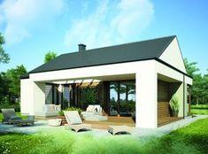 Patio house to duży (207 m²), parterowy, nowoczesny dom. Jego atutem jest możliwość adaptacji do wąskiej działki. Fot. Pracownia Architektury Głowacki
