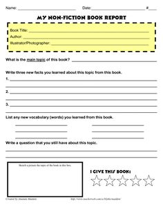 5th Grade Book Report Printables | Printable Book Report Forms ...